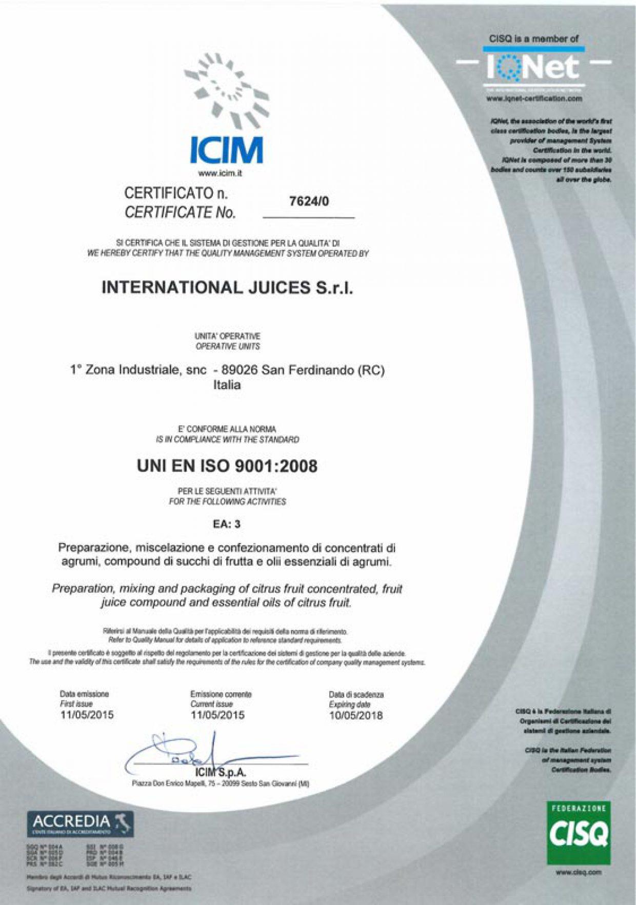 Certificazione ICIM UNI EN ISO 9001:2008
